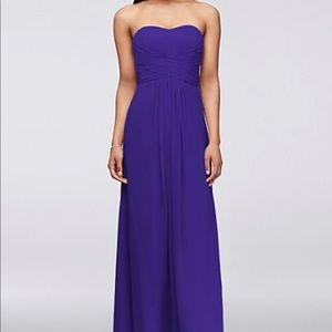 Long Strapless Chiffon Dress w/ Pleated Bodice